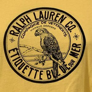 Ralph Lauren yellow t shirt Etiquette Blue sur Mer
